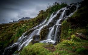 Картинка зелень, лето, горы, природа, камни, растительность, водопад, поток, каскад