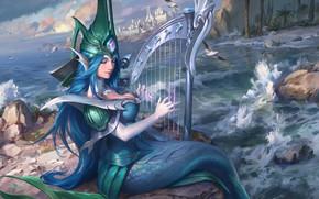 Картинка city, music, waves, girl, fantasy, long hair, sea, rocks, birds, digital art, buildings, artwork, mermaid, …