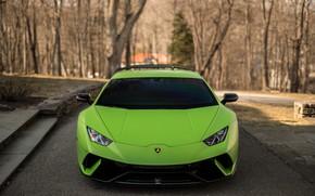 Картинка Lamborghini, Green, Front, Face, VAG, Huracan