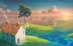 Картинка вода, дом, дерево, остров, райский уголок