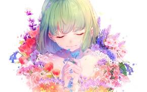Картинка девушка, цветы, by lluluchwan