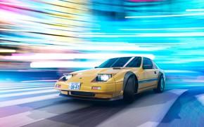 Картинка Огни, Желтый, Машина, Занос, Дрифт, Drift, Car, Render, Рендеринг, Желтый цвет, Transport & Vehicles, Nissan …