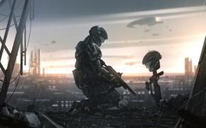 Картинка дождь, солдат, шлем, Halo 3, Halo 3: ODST