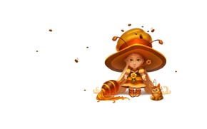 Картинка фэнтези, арт, пчёлка, мёд, детская, кодомо, Sergey SerSpiriT, Honey witch
