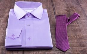 Картинка фиолетовый, фон, доски, галстук, рубашка, боке
