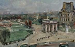 Картинка картина, городской пейзаж, Люсьен Адрион, Lucien Adrion, Париж. Лувр. Площадь Каррузель