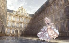 Картинка девушка, замок, бальное платье
