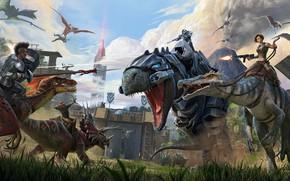 Картинка fantasy, game, walls, battle, weapons, digital art, artwork, warriors, fantasy art, fantasy world, creatures, volcano, …