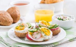 Картинка яйца, сок, хлеб, овощи, бутерброды