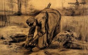 Картинка Vincent van Gogh, вилы, женщина собирает урожай, Peasant Woman, Lifting Potatoes 6