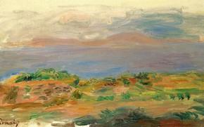 Картинка пейзаж, картина, 1898, Пьер Огюст Ренуар, Pierre Auguste Renoir, Зеленые Скалы и Море