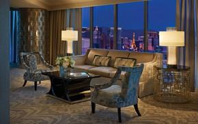 Картинка интерьер, отель, гостиная, номер люкс, View, Suite, Living Room at Night, Presidential Strip
