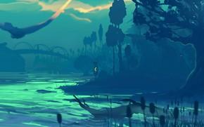 Картинка dark, wallpaper, girl, river, trees, art, shore, child, silhouette, miscellaneous, reeds, background 4k uhd