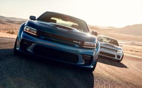 Картинка Дорога, Скорость, Бампер, Капот, Dodge, Фары, Charger, Hellcat, SRT, 2020, Dodge Charger SRT, Hellcat widebody