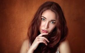 Картинка взгляд, лицо, поза, фон, модель, рука, портрет, макияж, прическа, шатенка, красотка, Liza, боке, Vladislav Opletaev