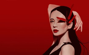 Картинка Девушка, Girl, Art, Asian, Zhang Ziyi, Woman, Face, Leaves, Чжан Цзыи, by Dana Doss, Dana …