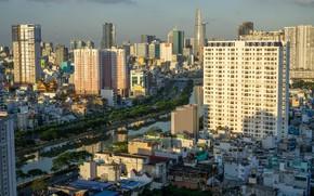 Картинка небо, солнце, река, здания, дома, Вьетнам, Ho Chi Minh City