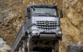 Картинка камни, серый, земля, Mercedes-Benz, порода, 2013, самосвал, Arocs, четырёхосный