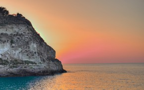 Картинка sky, sea, landscape, Italy, sunset, Tropea, Calabria, Santa Maria Church on Isola Bella