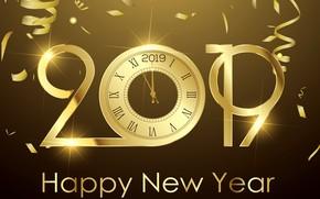 Картинка золото, Новый Год, цифры, golden, background, New Year, Happy, sparkle, 2019