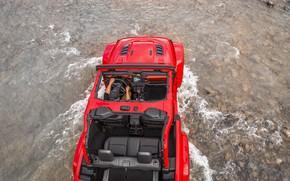 Картинка вода, красный, ручей, камни, дно, кабина, 2018, Jeep, Wrangler Rubicon