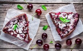 Картинка вишня, ягоды, пирог, выпечка