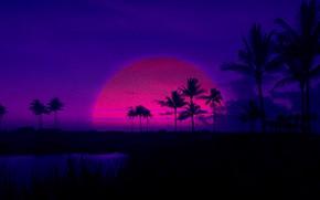 Картинка Закат, Солнце, Вечер, Музыка, Стиль, Пальмы, Фон, 80s, Style, Illustration, 80's, Synth, Retrowave, Synthwave, New …
