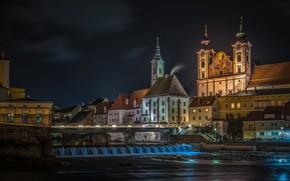 Картинка ночь, город, река, здания, дома, Австрия, церковь, Штайр