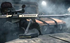 Картинка девушка, рендеринг, оптика, снайпер, винтовка
