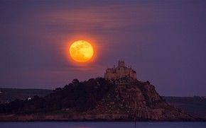 Картинка скала, остров, Англия, Луна, монастырь, Сент Майклз Маунт