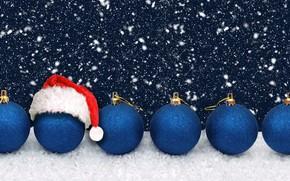 Картинка зима, шарики, снег, темный фон, праздник, шары, блеск, Рождество, Новый год, баннер, снегопад, синие, много, …