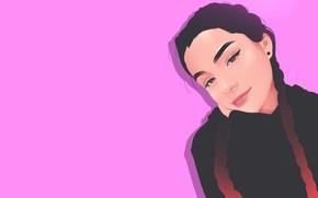 Картинка Девушка, Минимализм, Губы, Girl, Глаза, Фон, Арт, Beautiful, Sexy, Art, Eyes, Секси, Красивая, Background, Minimalism, …