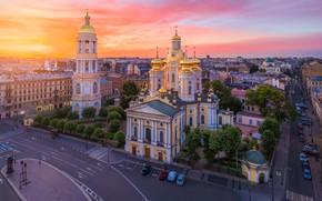 Картинка город, рассвет, здания, дороги, башня, дома, утро, Питер, Санкт-Петербург, купола, колокольня, Владимирский собор