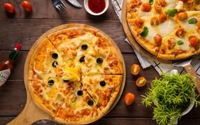Картинка зелень, сыр, пицца, помидор, оливки, соус