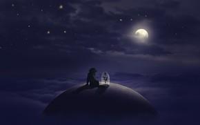 Картинка цветок, звезды, облака, собака, Луна, moon, flower, dog, clouds, stars, little prince, Маленький Принц, Sasan …