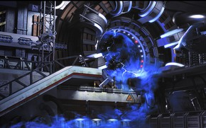 Картинка космос, круг, портал, тоннель, космическая станция