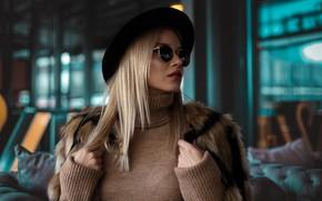 Картинка модель, шляпа, очки, блондинка