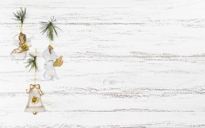 Картинка белый, фон, праздник, Рождество, Новый год, Christmas, колокольчик, декор, Xmas, New year, ангелочки, small angels