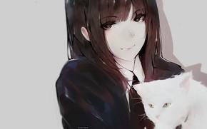 Картинка лицо, школьница, серый фон, длинные волосы, art, челка, белый котенок, Aoi Ogata