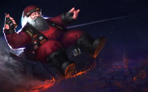 Картинка Зима, Ночь, Рисунок, Музыка, Рождество, Новый год, Санта, Борода, Rock, Праздник, Санта Клаус, Арт, Christmas, ...