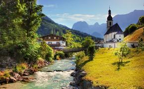 Картинка пейзаж, горы, мост, река, дома, Германия, Бавария, Альпы, леса, Берхтесгаден, община