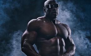 Картинка очки, мужчина, мышцы, бодибилдер