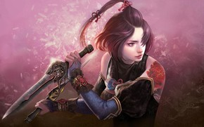 Картинка Девушка, Мечи, Woman Warrior, Master of Meteor Blades