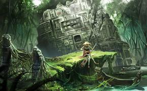 Картинка лодка, джунгли, лестница, девочка, развалины, речка, жрица, охотница, весло, святилище, в лесу, древние руины, шляна
