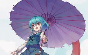 Картинка зонт, голубые волосы, разные глаза, высунул язык, Touhou Project, Проект Восток, Tatara Kogasa, by Yanyan