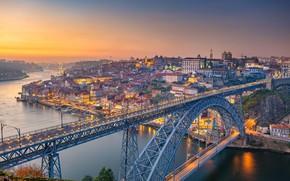 Картинка мост, река, рассвет, панорама, Португалия, Portugal, Vila Nova de Gaia, Porto, Порту, река Дуэро, Вила-Нова-ди-Гая, …