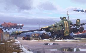 Картинка fantasy, science fiction, winter, snow, sci-fi, cyberpunk, trucks, artist, digital art, spaceships, artwork, fantasy art, …