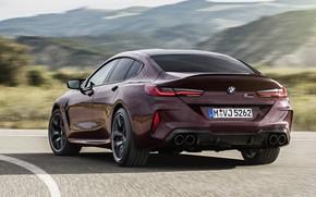 Картинка купе, скорость, поворот, BMW, трек, 2019, M8, четырёхдверное, M8 Gran Coupe, M8 Competition Gran Coupe, …