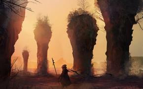 Картинка Рисунок, Воин, Пейзаж, Арт, Landscapes, Digital Art, TacoSauceNinja, by TacoSauceNinja, Life is hard