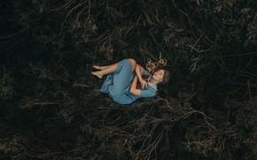 Картинка девушка, природа, поза, темный фон, растительность, сон, спит, лежит, книга